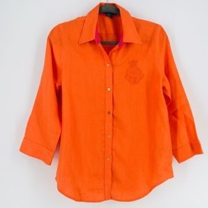 LRL 100% Linen Button-Down Top Logo Embroidered